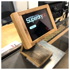 Tablet stand, solid oak