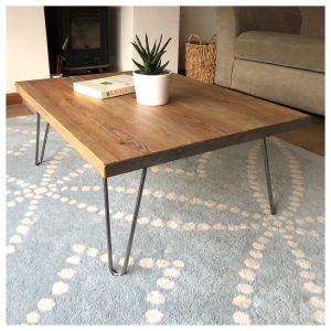 Chunky Wood Coffee Table Hairpin legs