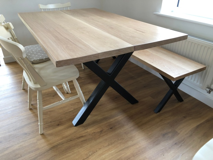 White oak dining table, industrial style, box steel legs