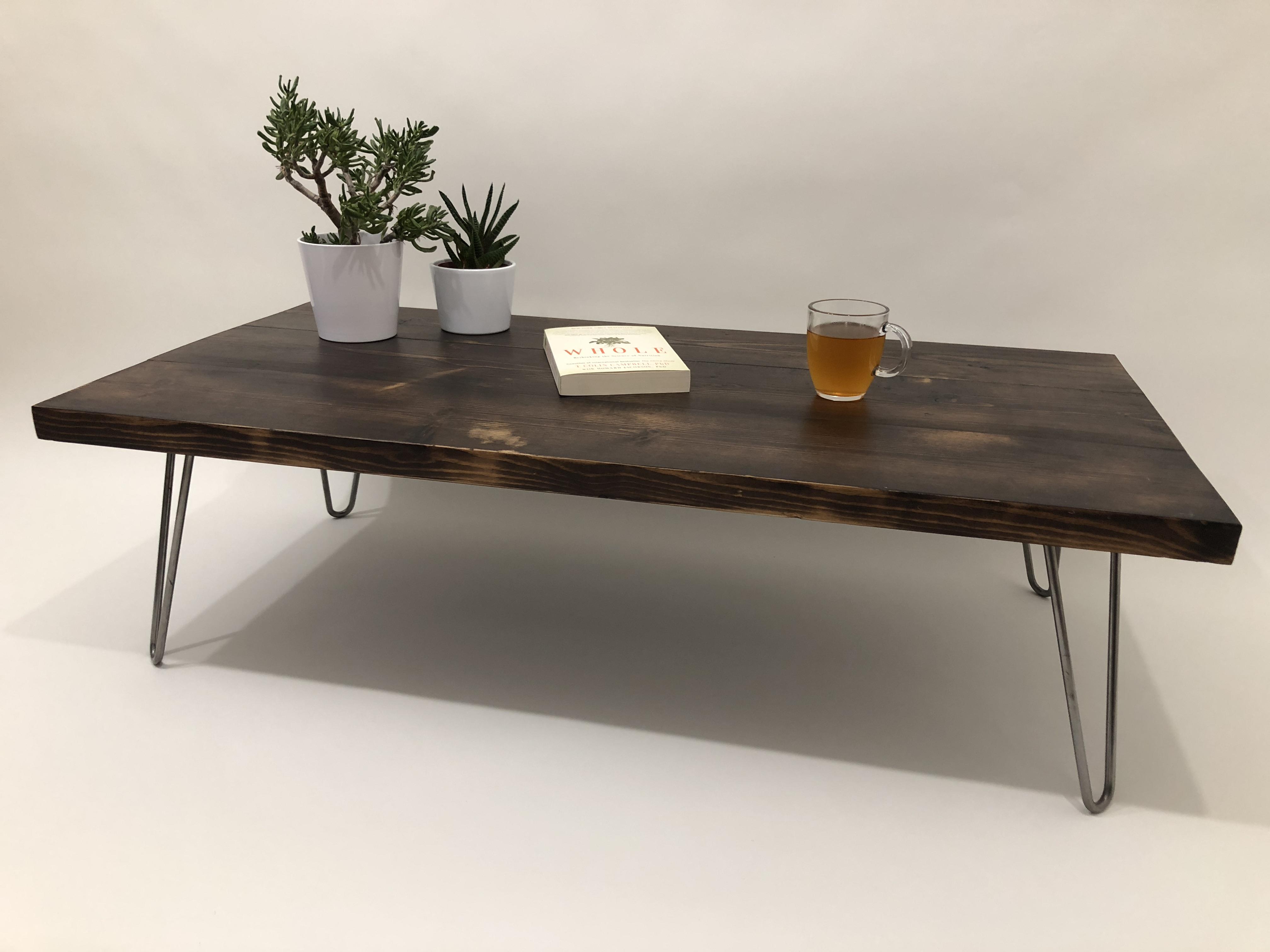 reclaimed wood coffee table hairpin legs