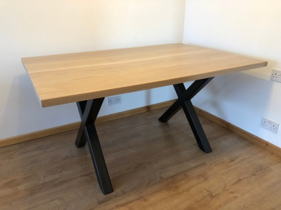 oak industrial dining table