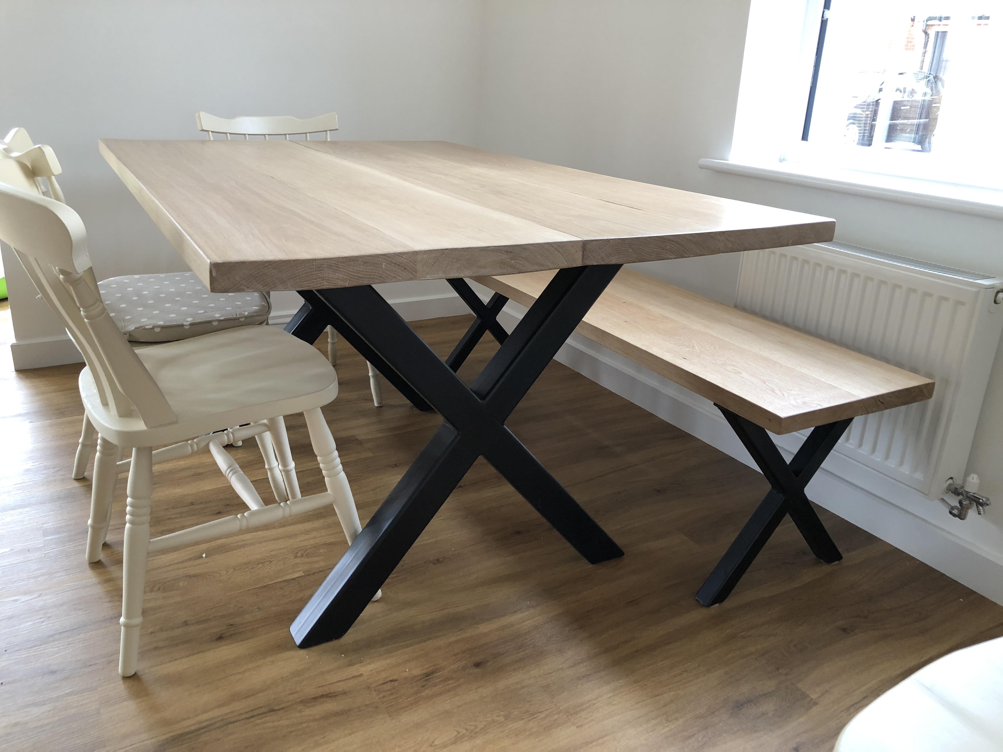 Industrial dining table oak