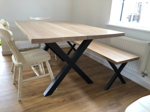 Industrial dining table oak