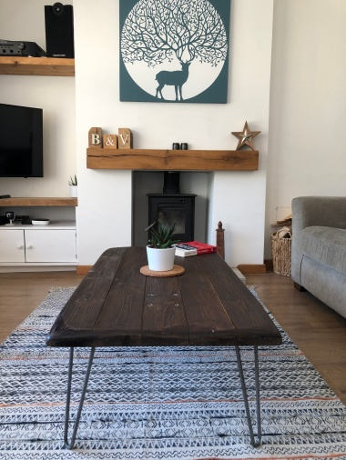Industrial coffee table above