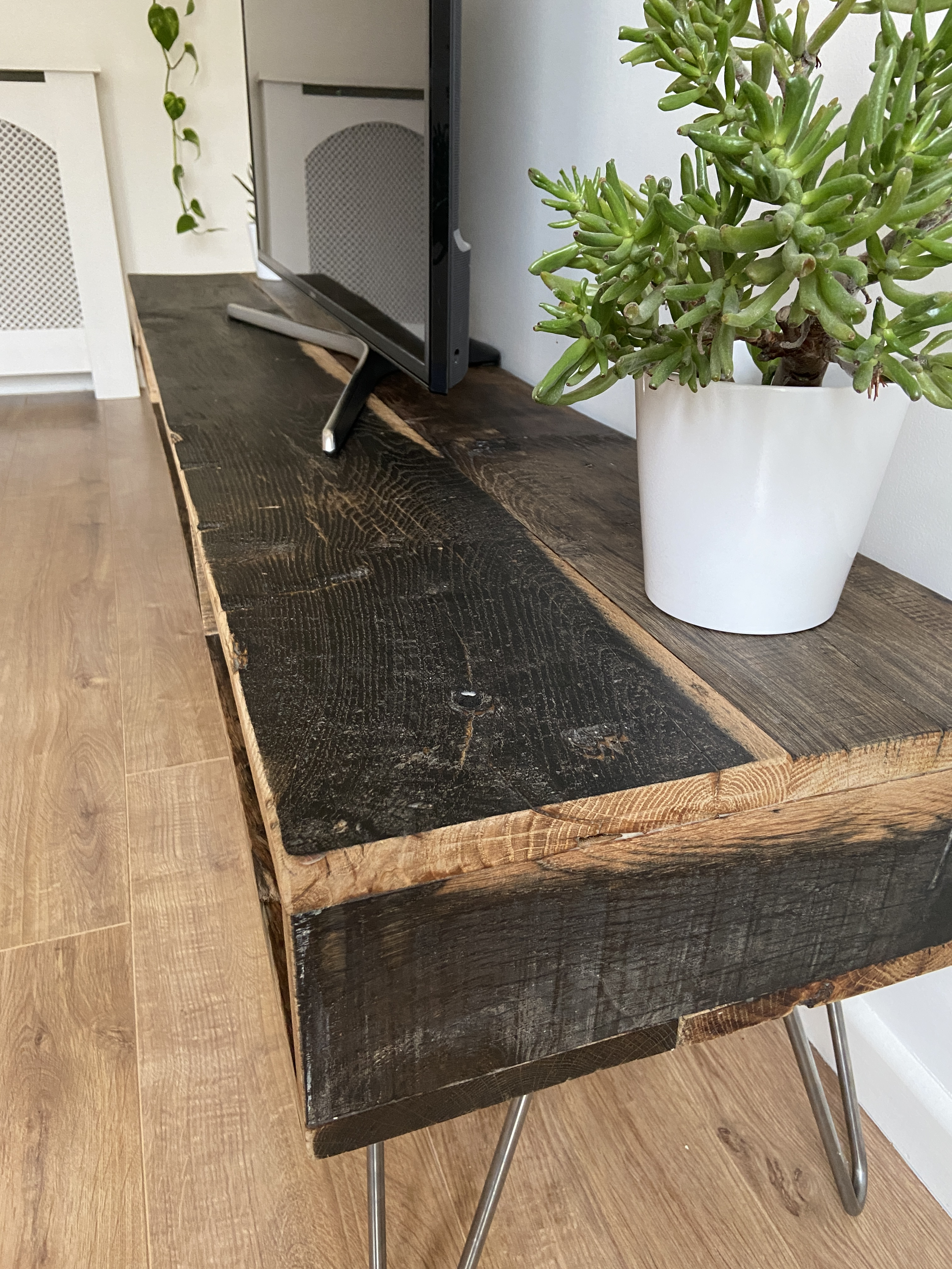Rustic industrial TV stand console table