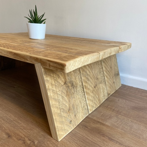 reclaimed wood splayed leg coffee table 3