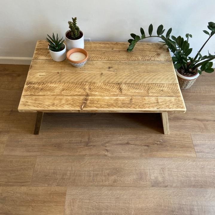 reclaimed wood splayed leg coffee table