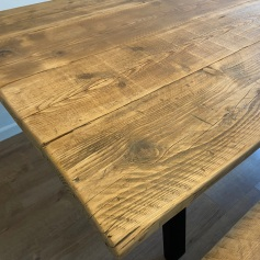 Reclaimed wood a-frame dining table