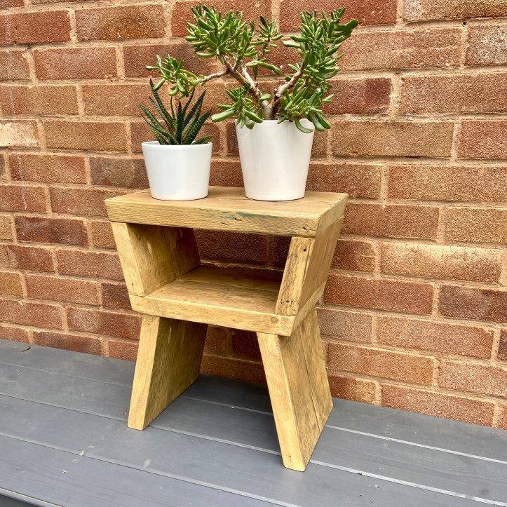Rustic plant stand side table