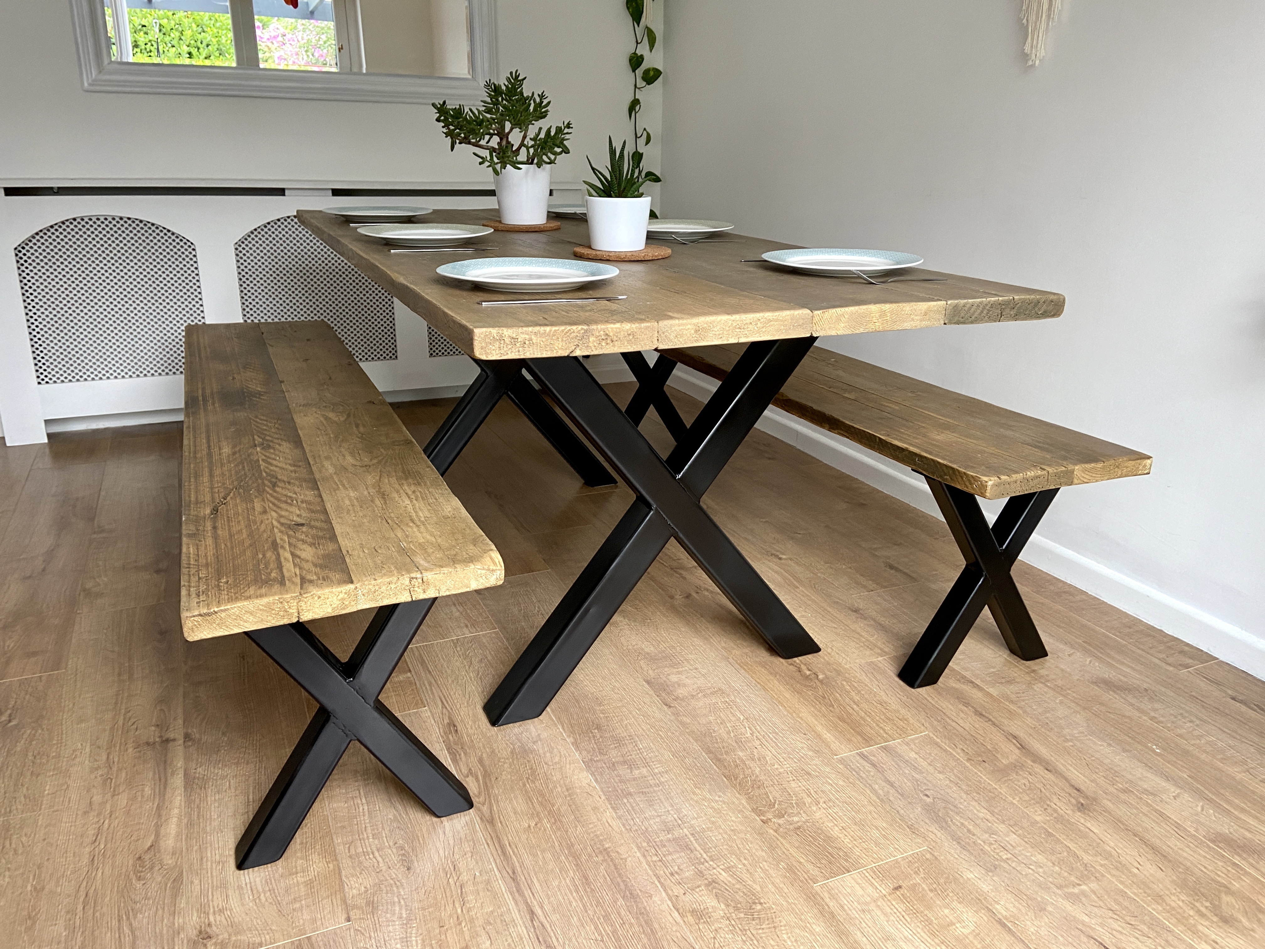 Scaffold Boards Industrial Rustic Hairpin legs Wooden Desk with monitor stand
