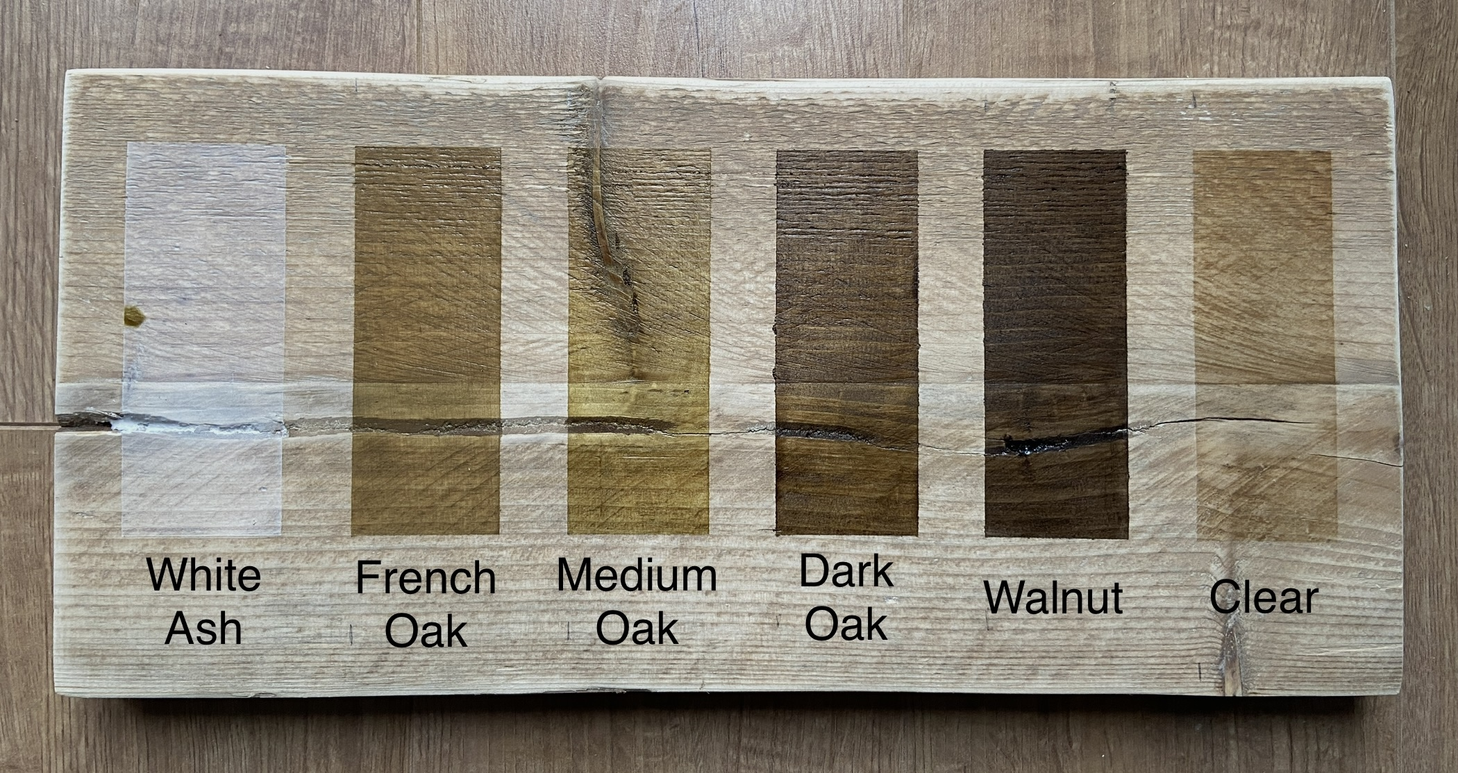wood stain chart